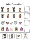 Goldilocks and the Three Bears themed What Comes Next preschool printable.