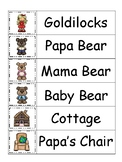Goldilocks and the Three Bears themed Word Wall preschool printable.