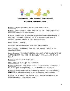 Goldilocks and the Three Dinosaurs Reader's Theater