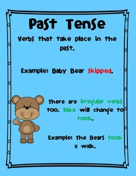 Goldilocks and the Three Verbs Packet