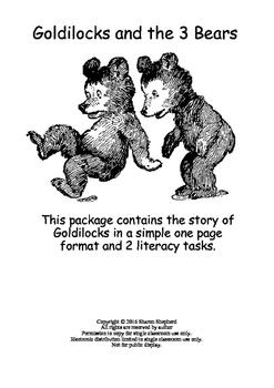 Goldilocks and the three bears literacy task
