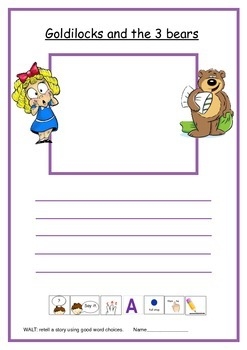 Goldilocks and the three bears writing frame.