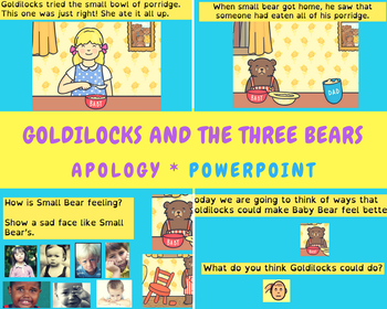 Goldilocks 3 bears - how to apologise - how to apologize - social skills