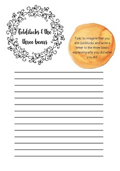 Goldilocks & the three bears printable template