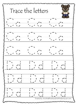 Goldilocks themed A-Z tracing preschool educational worksheets. Daycare alphabet