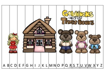 Goldilocks themed Alphabet Sequence Puzzle. Preschool learning game