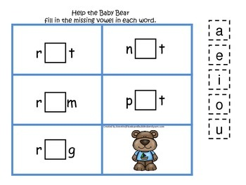 Goldilocks themed CVC #4 preschool homeschool vowel activity.  Phonics.