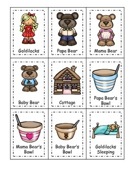 Goldilocks themed Three Part Matching preschool printable.  Homeschool daycare.