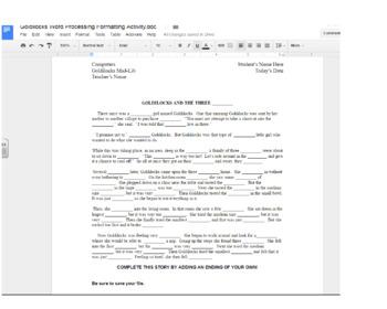 Goldilocks word processing and computer formatting activity.