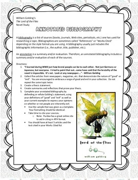 Golding's The Lord of the Flies (Annotated Bibliography Assignment)