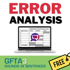 Goldman-Fristoe Test of Articulation-3 Error Analysis Table Sentences Story 1