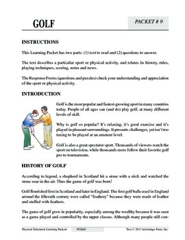 Golf: An Academic Learning Packet