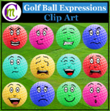 Golf Ball Expressions Clipart #1 | Sports Game Emotions Clip Art