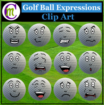 Golf Ball Expressions Clipart #2 | Sports Game Emotions Clip Art