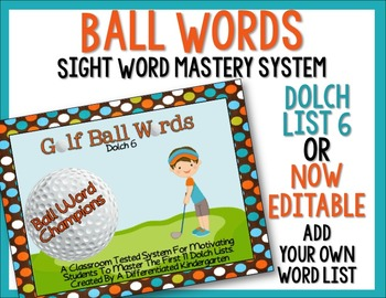 Ball Words Sight Word Mastery System-EDITABLE Golf Ball Words
