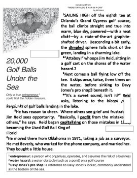 Golf Balls 5 day Common Core Lesson w Visual Literacy Poetry and Close Reading