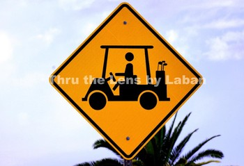 Golf Cart Crossing Sign Stock Photo #129
