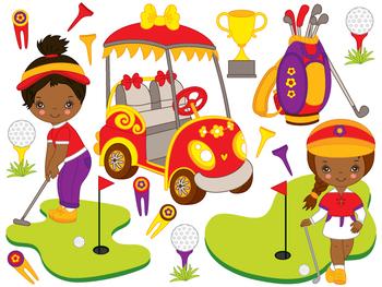 Golf Clipart - Digital Vector Golf, African American Little Girl, Golf Clip Art