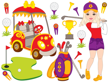 Golf Clipart - Digital Vector Golf, Girl, Golfer, Golf Ball, Golf Clip Art