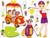 Golf Clipart - Digital Vector Golf, Girl, Golfer, Golf Bal