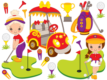 Golf Clipart - Digital Vector Golf, Little Girl, Golf Bag, Ball. Golf Clip Art