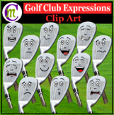 Golf Club Expressions Clipart | Sports Game Emotions Clip Art