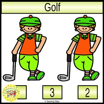 Golf Count and Clip Sports Task Cards