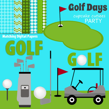 Golf Days Digital Clip Art Elements