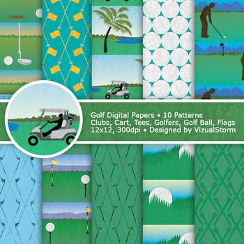 Golf Digital Paper Patterns, 10 Printable Summer Sports Backgrounds