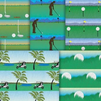 Golf Digital Paper Patterns, 10 Printable Summer Sports Backgrounds
