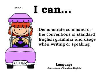 Golf Kindergarten English Common core standards posters