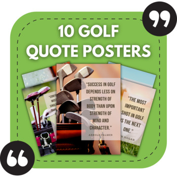 Golf Posters - 10 Great Quotes for Golf Bulletin Boards