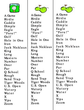 Golf Reverse Mystery Word/Vocab list