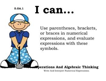Golf Theme 5th grade math Common Core Posters Fifth Grade Standards