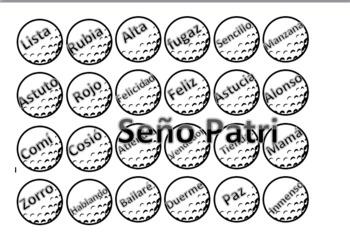 Golf Tipos de palabras; sustantivos adjetivos y verbos