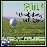 Golf Vocabulary and Quiz