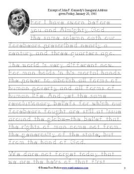 John F. Kennedy's Inaugural Address (Excerpt), January 20, 1961-Copywork
