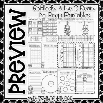 Golidlocks and the 3 Bears NO PREP Printables