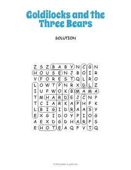 Goldilocks and the Three Bears Word Search
