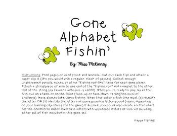 Gone Alphabet Fishin' Game! (Letter Identification & Letter Sound Recognition)
