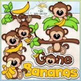 Gone Bananas Clip Art - Monkeys Clip Art - CU Clip Art & B&W