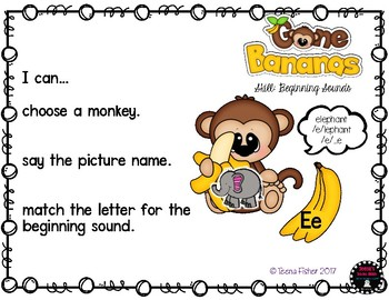 Gone Bananas Monkeys Beginning Sounds Phonics Kindergarten Literacy Center