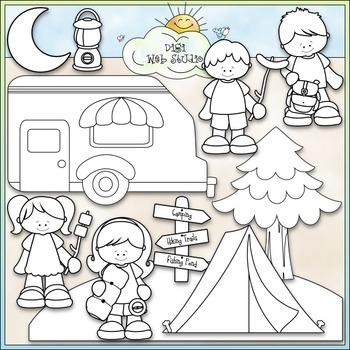 Gone Camping Clip Art - Camping Kids Clip Art - CU Clip Art & B&W