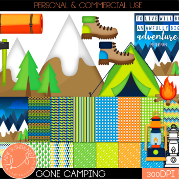 Gone Camping Digital Paper and Clip Art Set