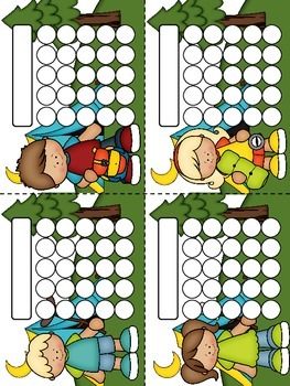 Gone Camping Sticker Incentive Charts - Full Color and Less-Ink Options