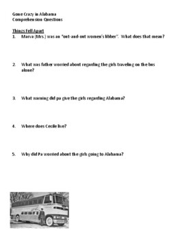 Gone Crazy in Alabama Comprehension Questions, Vocabulary, and Quizzes