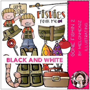 Melonheadz: Gone Fishin clip art Part 2 - BLACK AND WHITE