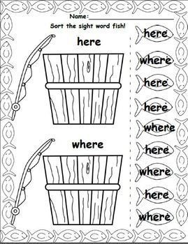 Gone Fishin' (A Dolch Sight Word Worksheet Unit)