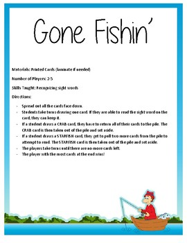 Gone Fishin' Kindergarten Sight Word Game