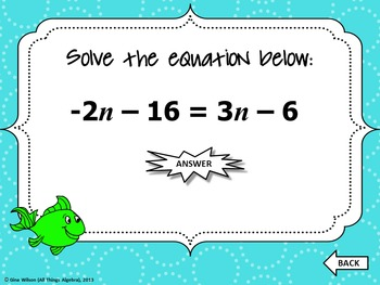 Multi-Step Equations Gone Fishin' Game